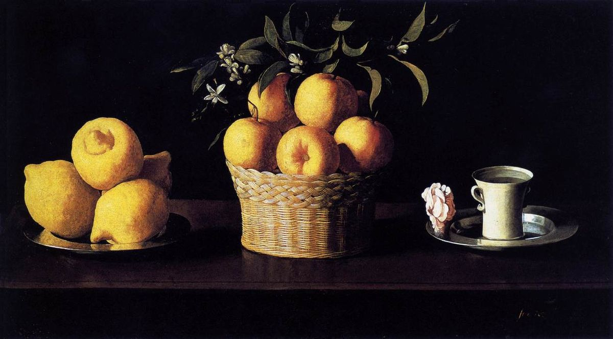 Zurbarán - 1633 Naturaleza muerta con limones, naranja y taza con una rosa